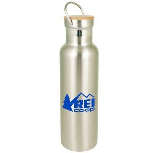 20 Oz. Bedford Double Walled Stainless Water Bottle with Bamboo Lid
