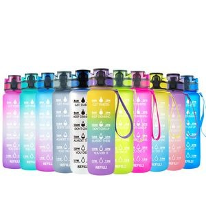 32oz Leakproof BPA Free Drinking Water Bottle with Time Marker & Straw