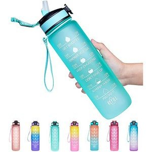 32oz Leakproof Water Bottle with Time Marker & Straw
