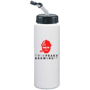 32 Oz. White Sport Bottle with Cap, Tip and Straw