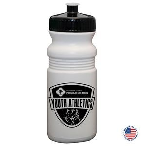20 Oz. USA-Made White Sport Bottle with Push-pull Lid