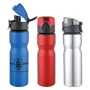 28 Oz Aluminum Sports Bottle With a Safety Latch Pop-Up Lid