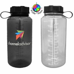 32 Oz. BPA Free Clear Classic Water Bottle with Black Lid (4 Color Process)