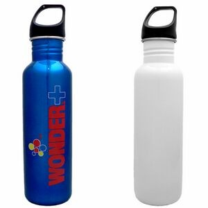 26 Oz. White Stainless Excursion Water Bottle (Screen Printed)