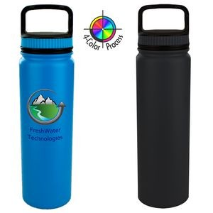 700 ml Eugene Wide Mouth Drinking Bottle with Handle Lid White (Full Color)