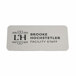 "Magnetic Name Badges- 1.5"" X 3"" (Silver Metal)"